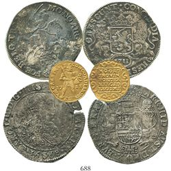 Set of 3 Dutch coins in promotional case: one gold ducat 1711 Utrecht, one portrait ducatoon 1668 Br