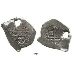 Mexico City, Mexico, cob 8 reales, (171)5(J), very odd shape (natural hole).