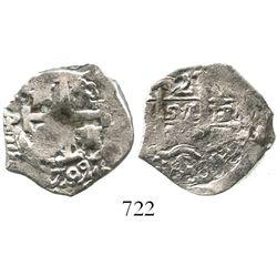 Potosi, Bolivia, cob 2 reales, 1709(Y), rare.