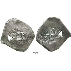 Mexico City, Mexico, cob 8 reales, 172(9)R, with natural, triangular bubble-hole.