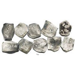 Lot of 5 Mexico City, Mexico, cob 8 reales, Philip V, assayers not visible.