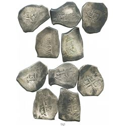 Lot of 5 Mexico City, Mexico, cob 8 reales, Philip V, various assayers (all visible).