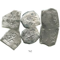 Lot of 3 Mexico City, Mexico, cob 8 reales, Philip V, assayers not visible.