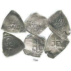 Lot of 3 Mexico City, Mexico, cob 4 reales, Philip V, assayers not visible.