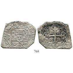 Mexico City, Mexico, klippe 8 reales, 1733MF.