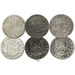 Lot of 3 Mexico City, Mexico, pillar 8 reales, Philip V, all 1736MF.