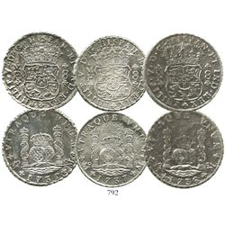 Lot of 3 Mexico City, Mexico, pillar 8 reales, Philip V, dated 1735, 1736 and 1737, assayer MF.