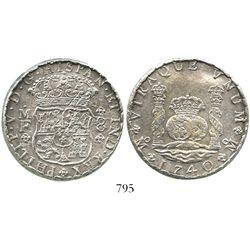 Mexico City, Mexico, pillar 8 reales, Philip V, 1740MF, incorrect rim (mint error?), with Sotheby's
