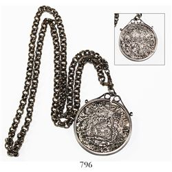 Mexico City, Mexico, pillar 8 reales, Philip V, 1740MF, mounted in sterling silver bezel with chain.