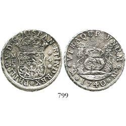 Mexico City, Mexico, pillar 4 reales, Philip V, 1740/30MF.