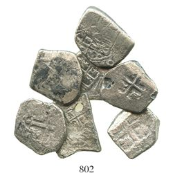 Lot of 7 Mexico City, Mexico, cob 2R of Philip V, assayers not visible, one with 1731 date.