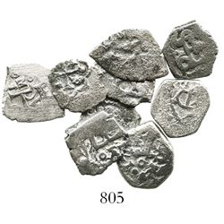 Lot of 9 Mexico City, Mexico, cob 1/2R, Charles II and Philip V, various assayers (where visible).