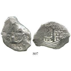 Lima, Peru, cob 8 reales, 1725M, Louis I, rare.