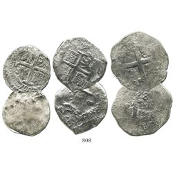Lot of 3 Lima, Peru, cob 8 reales of Charles II and Philip V, various dates (where visible).