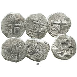 Lot of 3 Lima, Peru, cob 8 reales of Philip V, various dates (where visible).