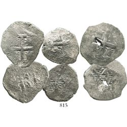 Lot of 3 Lima, Peru, cob 4 reales of Philip V, various dates (where visible).