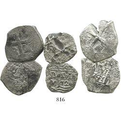 Lot of 3 Lima, Peru, cob 4 reales of Philip V, various dates.
