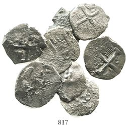 Lot of 8 Lima, Peru, cob 2R of Philip V, various dates and assayers (where visible).