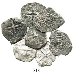 Lot of 7 Lima, Peru, cob 2R of Charles II and Philip V, various dates and assayers (where visible).