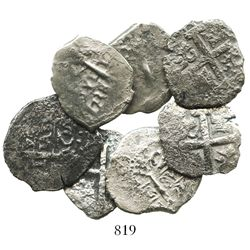 Lot of 7 Lima, Peru, cob 2R of Philip V, various dates and assayers (where visible).