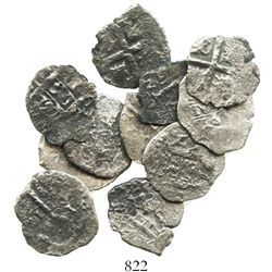 Lot of 11 Lima, Peru, cob 1R of Philip V, various dates and assayers (where visible).