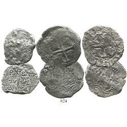 Lot of 3 Potosi, Bolivia, cob 8 reales of Charles II, various dates (where visible).
