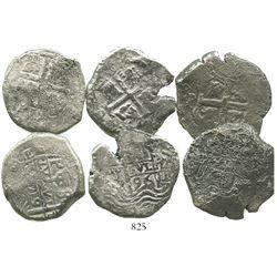Lot of 3 Potosi, Bolivia, cob 8 reales of Charles II and Philip V, various dates (where visible).
