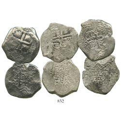 Lot of 3 Potosi, Bolivia, cob 8 reales of Philip V, various dates, all assayer Y.