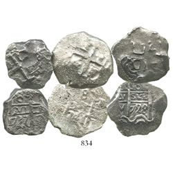 Lot of 3 Potosi, Bolivia, cob 8 reales of Philip V, various dates.