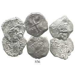 Lot of 3 Potosi, Bolivia, cob 4 reales of Philip V, various dates (where visible).