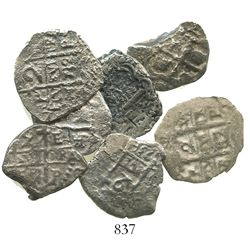 Lot of 7 Potosi, Bolivia, cob 2R of Charles II and Philip V, various dates and assayers (where visib