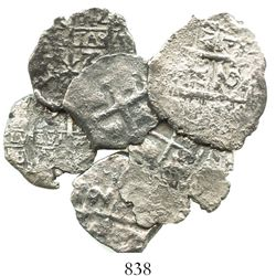 Lot of 6 Potosi, Bolivia, cob 2R of Philip V, various dates and assayers (where visible).
