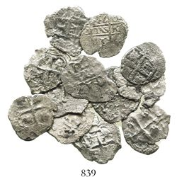 Lot of 12 Potosi, Bolivia, cob 1R of Philip V, various dates and assayers (where visible).