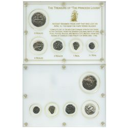 Denomination set of 8-4-2-1-1/2R cobs (various mints and dates) in custom plastic holder with name a