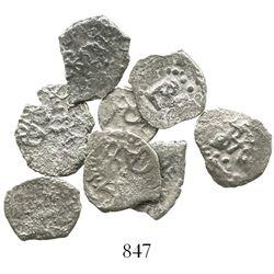 Lot of 8 Lima, Peru, and Potosi, Bolivia, cob 1/2R, various dates (where visible).
