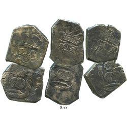 Lot of 3 Guatemala cob 8 reales, Philip V, assayer J (where visible), dates not visible.