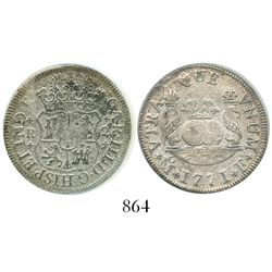 Mexico City, Mexico, pillar 2 reales, Charles III, 1771F, encapsulated ANACS El Cazador / Select.