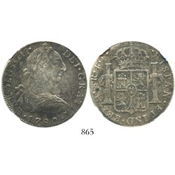 Mexico City, Mexico, bust 8 reales, Charles III, 1780FF, encapsulated NGC El Cazador / Genuine.