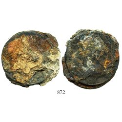 Clump of two Mexico City, Mexico, bust 8 reales, Charles III, 1783FF, encrusted as found.