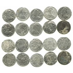 """Lot of 10 Mexico City, Mexico, bust 8 reales, Charles III, 1783FF, """"grade two."""""""