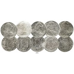 Lot of 5 Mexico City, Mexico, bust 8 reales, Charles III, 1782-3FF.