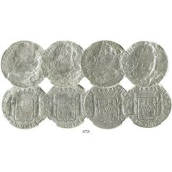 Lot of 4 Mexico City, Mexico, bust 8 reales, Charles III, dates not visible, encapsulated NGC El Caz