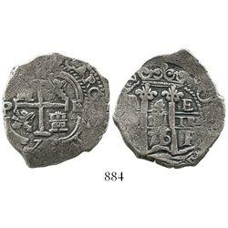 Potosi, Bolivia, cob 4 reales, 1676E.