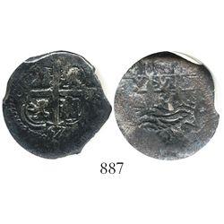 Potosi, Bolivia, cob 2 reales, 1667E, encapsulated NGC Genuine.