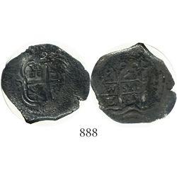 Potosi, Bolivia, cob 2 reales, 1669E, encapsulated NGC Genuine.