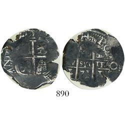 Potosi, Bolivia, cob 2 reales, 1671/0E, encapsulated NGC Genuine.