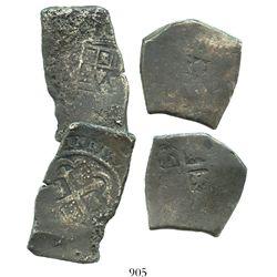 Lot of 2 Mexico City, Mexico, cob 8 reales, Philip V, assayers not visible.