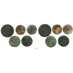 Lot of 5 French copper coins of the 1700s (various denominations and periods).