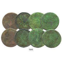 Lot of 4 Great Britain copper 1/2 pennies of George II, one with face of king intentionally removed