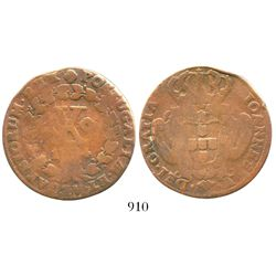 Lisbon, Portugal, copper 10 reis, Joao V, 17(?)4.
